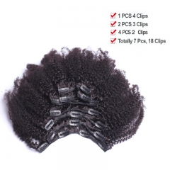Clip In Human Hair Extensions 4B 4C Afro Kinky Curly Brazilian Non Remy Hair Full Head 7 Pcs Natural Color Hair