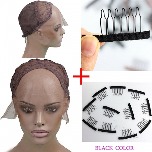 Lace Front Cap with 32 pcs One Bag Combs(black color) for Making Wigs Swiss and French Lace Hair Net for Wig Making