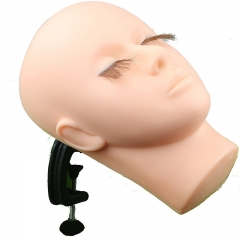 Makeup Practice Mannequin Face with Human Hair Eyelash with 1pc Table Clamp