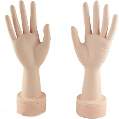 Practice Manicure Nails Hand and Practice Flexible Mannequin Hand Nail Display with Soft Fingers (A pair of hands)