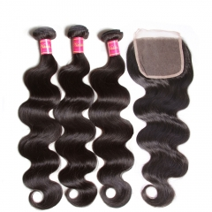 Body Wave Bundles With Closure Human Hair 4*4 Free Part Lace Closure 3Bundles Remy Hair Free Shipping