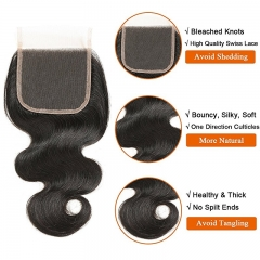 Hair With Closure 8A 3 Bundles Body Wave Virgin Human Hair Bundles With Lace Closure 100% Unprocessed Hair Extensions Natural Black