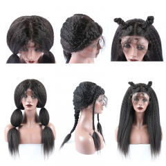 kinky straight Human Hair Lace Front Wig 250% Lace Front Wig virgin human hair middle freestyle part large in stock