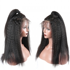 kinky straight Human Hair Lace Front Wig 250% Lace Front Wig human hair middle freestyle part large in stock