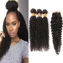 Peruvian Curly Hair 3 Bundles With Closure 8A Kinky Curly Hair Weave Invisible Part Lace Closure Hair