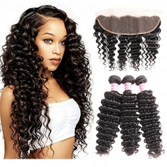 8a Deep Curly Wave 3 Bundles with Lace Frontal Closure 13×4 Ear to Ear Frontal with Bundles Bleached Knots 100% Unprocessed Brazilian Deep Wave Hair