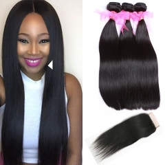 Straight Hair Bundles with Lace Closure  Grade 9A Unprocessed Straight Peruvian Hair 3 Bundles and 4x4 Free Part Closures Natural Color