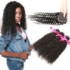 Brazilian Unprocessed Curly Virgin Weave Hair 3 Bundles with Closure Deep Curly Human Hair Extensions