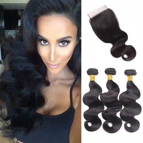 Body Wave 3 Bundles With Lace Closure Free Part 4×4 Closure Unprocessed Remy Human Hair Extensions Natural Color