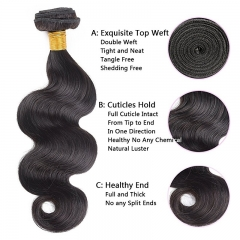Body Wave 3 Bundles With Lace Closure Free Part 4×4 Closure 100% Unprocessed Remy Human Hair Extensions Natural Color