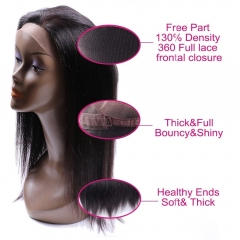 360 Lace Frontal Brazilian Straight Hair 360 Frontal Lace Closure with Baby Hair Unprocessed Virgin Human Hair