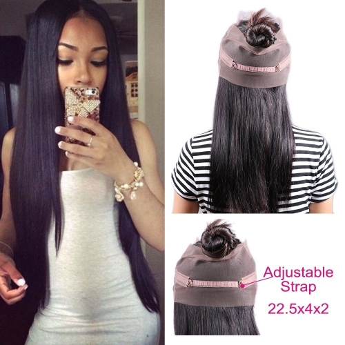 360 Lace Frontal Brazilian Straight Hair 360 Frontal Lace Closure with Baby Hair Unprocessed Human Hair