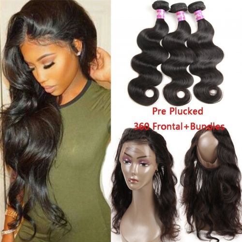 Loose Wave 360 Lace Band Frontal Closure With 3 Bundles Pre Plucked Brazilian Remy Hair 360 Lace Band Closure With Human Hair Wefts Extensions 4Pcs