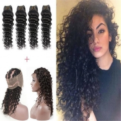 360 Lace Frontal Closure With 4 Bundles Peruvian Human Hair Deep Wave