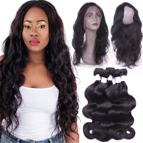 360 Lace Frontal with Bundles 8a Brazilian Body Wave Human Hair 3 Bundles with Pre-plucked 360 Lace Band Frontal with Baby Hair