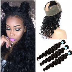 Pre Plucked Ear to Ear 360 Band Full Lace Frontal Closure With 3Pcs Loose Wave Wavy Indian Virgin Remy Human Hair Weave Bundles 4Pcs Lot
