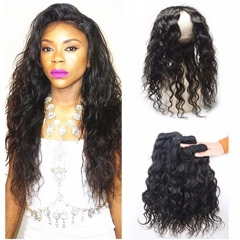 360 Lace Frontal With Peruvian Human Hair Water Wave 4Pcs Lot 100% Unprocessed Virgin Hair 3 Bundles Wet and Wavy With 22.5x4x2'' Pre Plucked 360 Full