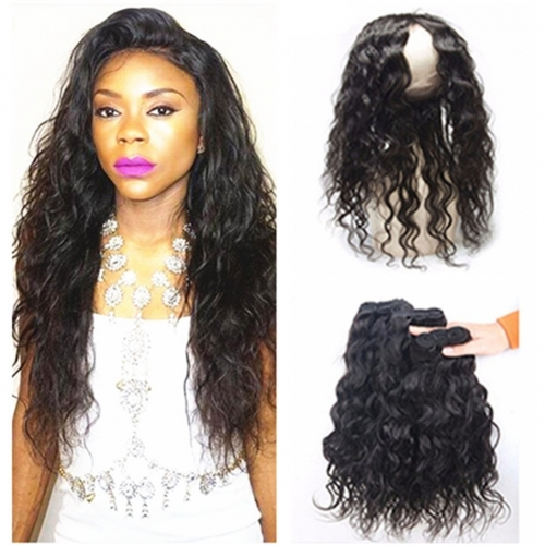 360 Lace Frontal With Peruvian Human Hair Water Wave 4Pcs Lot Unprocessed Remy Hair 3 Bundles Wet and Wavy With 22.5x4x2'' Pre Plucked 360 Full