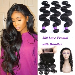 360 Lace Frontal with Bundles 8A Grade Brazilian Body Wave with 360 Frontal Unprocessed Virgin Human Hair with 360 Frontal Closure
