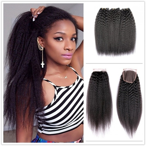 Kinky Straight Hair Bundles with Lace Closure, Yaki Straight Hair Weave Hair Human Lace Closure Human Hair
