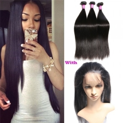 Pre Plucked 360 Lace Frontal With Bundles Grade Unprocessed Virgin Human Hair Weave Brazilian Straight Hair Natural Hairline