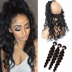 Malaysian Hair Loose Deep Wave Ear To Ear 360 Lace Frontal Closure With Bundles Full Frontal Lace Band Closure With Human Hair Weaves