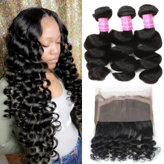 360 Lace Frontal with Bundles Grade Peruvian Loose Wave Bundles with 360 Free Part Lace Frontal Closure Virgin Human Hair Extensions Natural Color