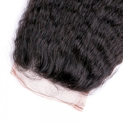 Kinky Straight Hair Bundles with Lace Closure, Yaki Straight Hair Weave Hair Human Lace Closure Virgin Human Hair
