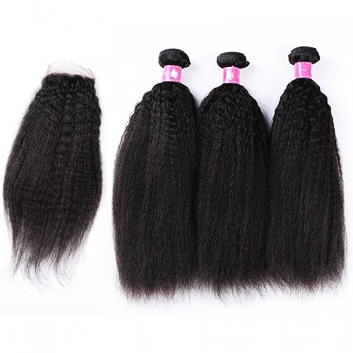 Malaysian Hair With  Free Part Kinky Straight Lace Closure With Bundles Unprocessed Soft Human Hair Weave Extension