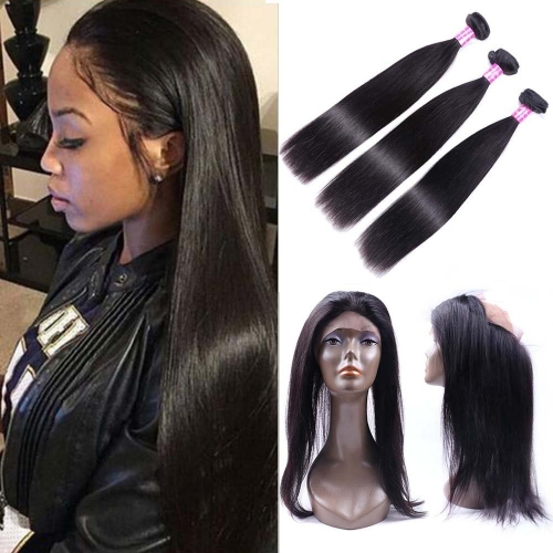 360 Lace Frontal With 3 Bundles Brazilian Straight Hair 360 Lace Band Frontal Closure Pre Plucked Brazilian Human Hair Frontal Natural Color