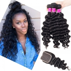 4x4 Middle Part Lace Closure Peruvian Virgin Hair Loose Deep Wave Peruvian Virgin Hair Deep Wave Lace Closure