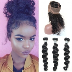 Pre Plucked 360 Lace Band Frontal With Bundles 3 Pcs for Black Woman Virgin Human Hair Loose Wave 360 Lace Frontal With Baby Hair