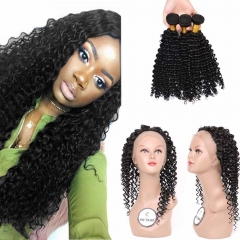Brazilian Deep Wave Wavy 360 Lace Frontal Closure With Bundles Unprocessed Human Hair Weaves With Full Frontal Lace Band Closure 4Pcs Lot