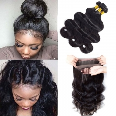 Brazilian Virgin Hair Body Wave Hair Bundles with 360 Lace Frontal Closure 22.5x4x2 Full Frontal Lace Closure Natural Color
