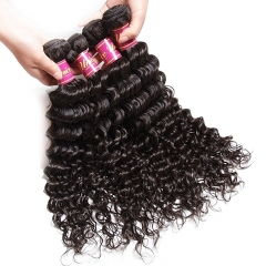 Brazilian Deep Wave Virgin Hair 4x4 Lace Closure with Bundles, 100%Unprocessed Human Hair Extensions Natural Color
