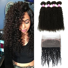 Brazilian Curly with 360 Frontal Grade Kinkys Curly Hair Bundles Virgin Human Hair Extensions with 360 Free Part Lace Frontal Closure Natural Color
