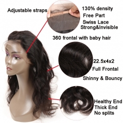 8A Indian Virgin Hair with Closure 360 Lace Frontal Closure with Bundles Body Wave Human Hair with Closure Pre Plucked 360 Lace Frontal with Bundles