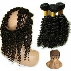 4PCS Lot 360 Lace Frontal With Bundle Silk Base 360 Lace Virgin Hair Frontal Deep Wave 360 Lace Band Frontal with Baby Hair