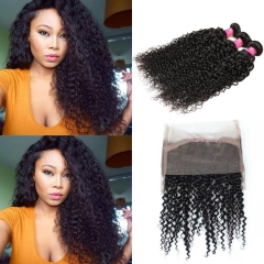 360 Lace Frontal with Bundles Unprocessed Peruvian Virgin Kinkys Curly Hair 360 Lace Frontal Closure Free Part Natural Color