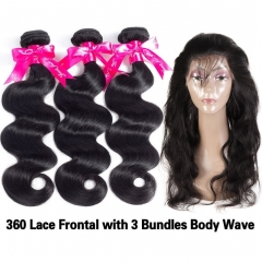 Plucked 360 Lace Frontal Closure With Bundles Peruvian Body Wave 3 Bundles With 360 Frontal Closure With Baby Hair