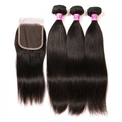 Malaysian Hair With Closure 3 Bundles Unprocessed Virgin Malaysian Straight Human Hair Bundles With Lace Closure Free Part Hair Extensions