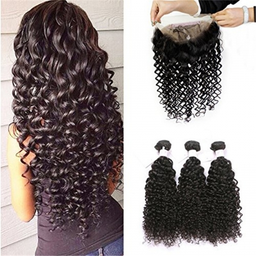 Pre Plucked 360 Lace Frontal with Bundles Deep Wave 8A Grade Brazilian Human Hair Weft with Baby Hair For Black Women Natural Color