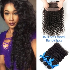 Pre Plucked 360 Lace Frontal Closure with Bundles Peruvian Remy Hair Curly Weave Wave Human Hair with 360 Closure Free Part Bleached Knots With Baby