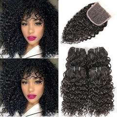 Brazilian Curly Remy Hair with Free Part Lace Closure Kinkys Curly Human Hair Bundles with Closure Hair Natural Color