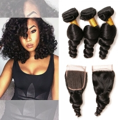 Loose Wave Bundles With Closure Frontal 4x4 Weave Wet and Wavy Brazilian Raw Virgin Human Hair Extension