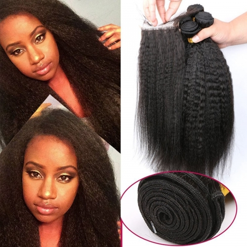 Mongolian Human Hair Kinky Straight Hair Bundles With Lace Closure 4pcs Mink Kinky Straight Hair