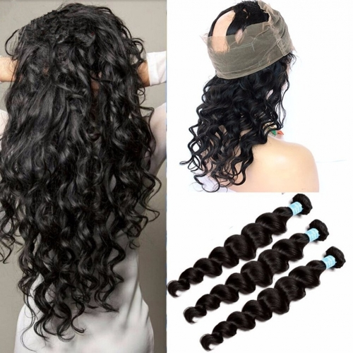 Brazilian Elastic Band Lace Frontal Closure With Bundles Cheap 8A Ear to Ear 360 Lace Band Frontal Cloure With Loose Deep Wave Human Hair Weaves