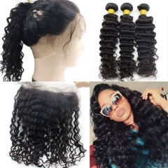 Pre plucked 360 lace frontal with bundle curly brazilian virgin hair with frontal closure bundle