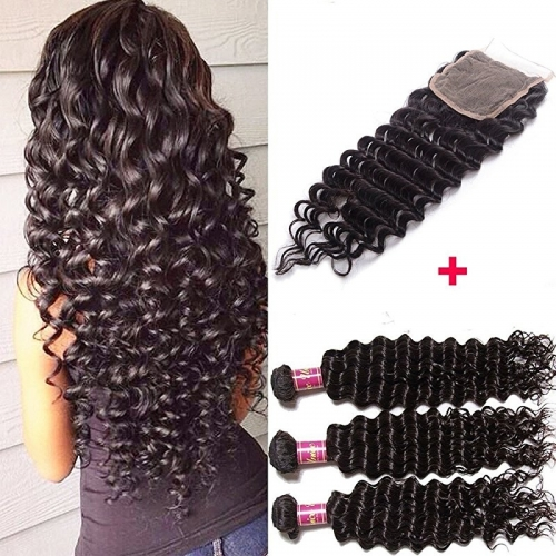 Brazilian Deep Wave Remy Hair 4x4 Lace Closure with Bundles, Unprocessed Human Hair Extensions Natural Color