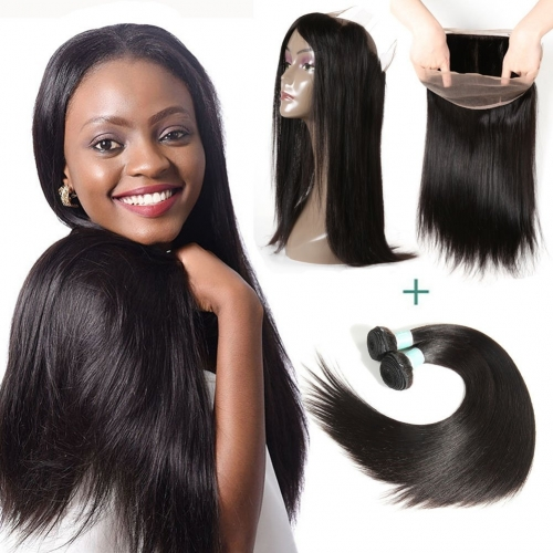 360 Lace Frontal With Bundles 2pcs Brazilian Human hair Straight Bundles With One Brazilian Straight Hair Frontal Closure 22x4x2